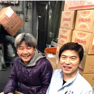 丸清の塩湯社長とたけのこ生産農家の神木さん