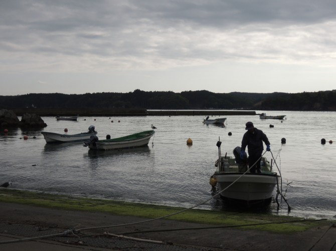 一日の漁を終えて、入江の港に戻る