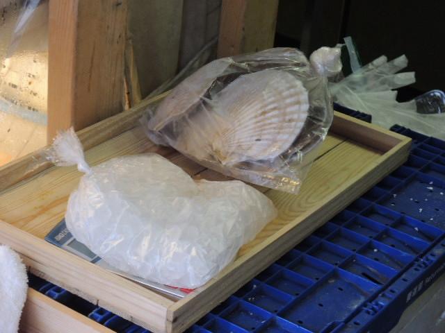 貝殻付き帆立は、4個で500円