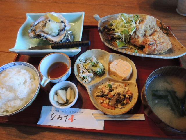 地元でとれた岩がきと阿波尾鶏の唐揚げ定食。 なんと、1,500円。驚きのコスパ!