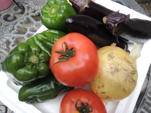 鮮度抜群、美男美女ぞろいの野菜(トマト、ピーマン、ナスビ、新タマネギ)